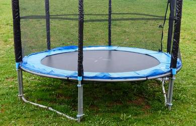 Skywalker bounce and learn trampoline assembly